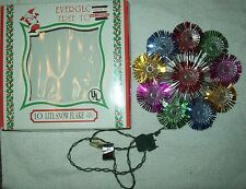"""Snow Flake Christmas Tree Top Topper 10 Colored Lite Lights Tinsel 8.5"""" Everglow"""