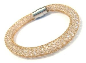 Yellow Gold PVD Surgical Steel Mesh Bangle Bracelet Faceted Beads Magnetic Clasp