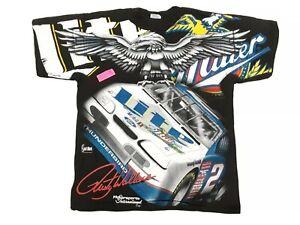 Vintage 1996 Rusty Wallace Miller Lite NASCAR Skid Mark Allover Print T Shirt L