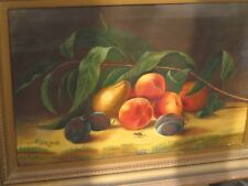 Canvas Oil Painting still life fruit 1800's 23 x 18 New England