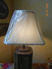 LAMP SHADE SQUARE BELL SHAPE WHITE SHANTUNG SPIDER FITTER SOFT BACK...