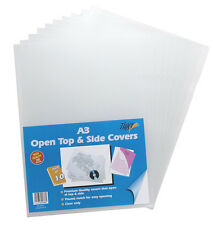 10 x A3 Clear File Covers Open Top + Side Premium Plastic Folder Wallets