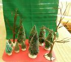 Lot of 9 Dept. 56 Flocked Bottle Brush Trees for  Christmas Village + 2 Trees