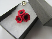 Handmade Red & Black Remembrance - Trio Cluster Poppy Flower Brooch Lapel Pin