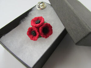 Handmade In UK - Unique Red & Black Trio Cluster Poppies Flower Brooch Lapel Pin