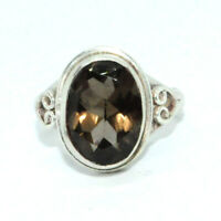 Sterling Silver Traditional Asian Vintage Style Smoky Quartz Ring Size Q Gift
