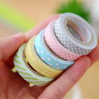 5 Rolls Rainbow Washi Tape Decorative Sticky Paper Masking Tape Adhesive Crafts