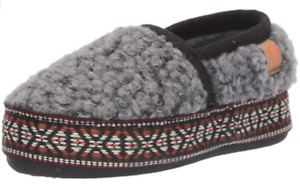 Acorn Unisex-Kid's L'il Woven Trim Moc Slippers Comfortable Size 1-2 Stormy Grey