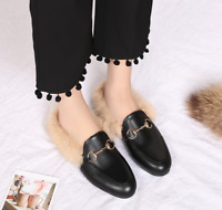 Womens Suede Slippers Loafers Casual Mules Fur Lined Shoes Slides Flats#