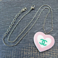 CHANEL Silver Plated Plastic CC Logos Heart Necklace Pendant #6130a Rise-on