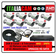 KIT VIDEOSORVEGLIANZA XVR + 8 Telecamere HD-AHD 3.0 MPX + HD SATA + CAVI + Alim