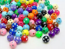 100 Pcs - 8mm Mix Acrylic Round Metal Enlaced Spacer Beads Kids Craft D118