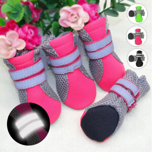 Reflective Small to Large Dogs Shoes Mesh Boots No-Slip Outdoor Dog Socks Black