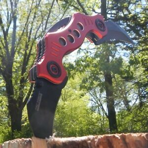 TWIN DUAL BLADE Karambit Claw SPRING ASSISTED OPEN Combat Folding POCKET KNIFE
