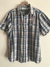 Paper Denim Cloth XL Short Sleeve Button Up Multicolored Plaid With Patches