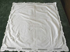 "WHITE EMBROIDERED COTTON TABLE CLOTH 30"" BY 30"""