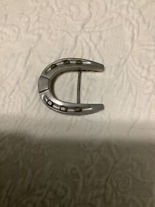 Cowboy Western Rodeo Silver Horseshoe with Nail Heads Belt Buckle