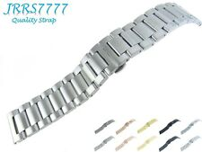 22mm Watch Bracelet Stainless Steel Titanium Brushed 3 Row Link Deployment New