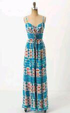 RARE ❤ Anthropologie Tracy Reese Desert Turquoise Maxi Dress Silk Small EUC