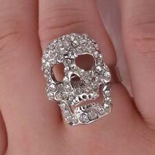 Gothic Skull Rhinestone & Silver Tone Fashion Adjustable Ring Nwot Halloween!