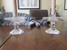 Original Mid Century Crystal Heavy Etched Cartier Crystal Candlesticks