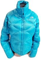 The North Face Women's 550 Goose Down Blue Puffy Full Zip Jacket! Size M