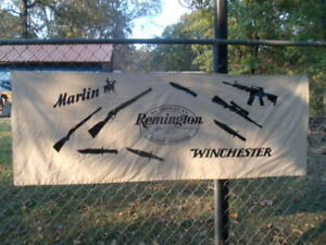 """RARE!! REMINGTON ARMS 1950'S 60'S CLOTH BANNER SIGN 27"""" X 75"""" WINCHESTER  LOOK!!"""