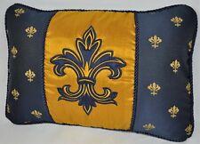 NEW Embroidered Pillow made w Gold Dupioni Silk & Navy Blue Fleur De Lis Fabric