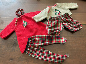 NIB Bitty Twins Christmas Sweater Outfits American Girl Baby Doll Set