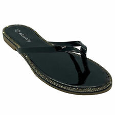 Milan City Women's Rhinestone Thong Flip Flop Sandals Black Patent size 8