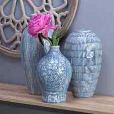 """Elements Ceramic Vase Set - 3-Piece - 10"""",12"""",15"""" Blue & White Patterned Finish"""