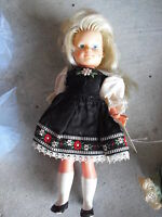 """Vintage 1950s Germany Sweetheart Marked Vinyl Girl Character Doll 7 3/4"""" Tall"""