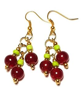 Long Gold Red Green Glass Bead Earrings Drop Dangle Classy Pierced Hook Gypsy
