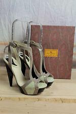 New in Box ETRO Black Beige Khaki Suede Patent Leather Platform Heels Shoes 39 9