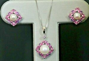 "NEW 10k Pearl & Pink Sapphire & Amethyst Earrings/Necklace/Set 18"" White Gold"