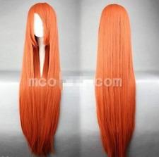 INOUE ORIHIME Long Orange Red Straight Cosplay Wig 80cm