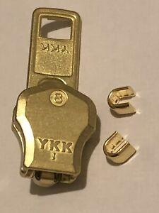 YKK NO-8 GOLD/YELLOW/ BRASS AUTO LOCK ZIP SLIDER/RUNNER/PULLER FOR METAL ZIP