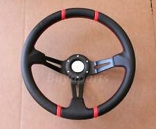 Drifting Red Stitching 350mm Deep Dish Steering Wheel DA DC2 DC5 TYPE R/S
