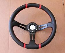 Drifting Red Stitching 350mm Deep Dish Steering Wheel DA DC2 DC5 TYPE R/S