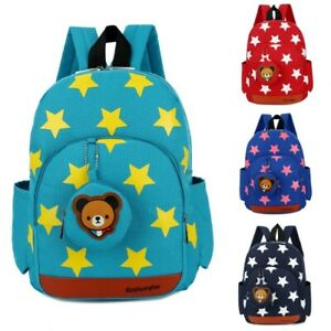 Children Character Backpack Rucksack School Bag Personalised Star Pattern Green