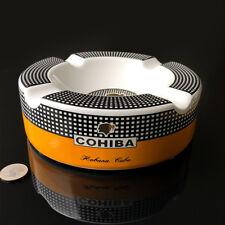 COHIBA Round Ceramic Tobacco Cigarette Cigar Ashtray Holder 4 Slots Count Gift