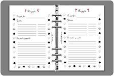 8x Kalender Einlagen für Filofax DIN A5 Rezepte Liste Beidseitig bedruckt