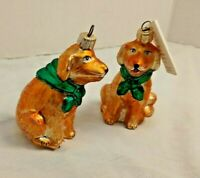 Vtg 2 Varsovia Poland Blown Glass Ornament Labrador Golden Retriever 3""
