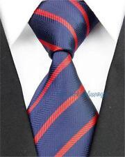 "3"" 7.5cm Mens Silk Ties Wedding Navy Red Jacquard Woven Striped Pattern Necktie"