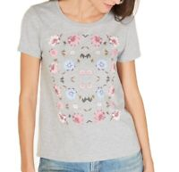 Lucky Brand Womens Knit Top Gray Size XS Floral-Print Crewneck Tee $39 248
