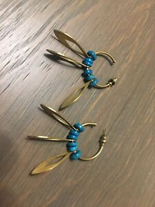 Vintage Noonday Earrings; Hoops with Teal Beads