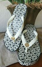 TORY BURCH PRINTED CUT-OUT WEDGE FLIP-FLOP NEW IVORY BUDDY LOGO SIZE 7