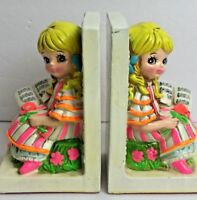 Vintage Hippie 60's 70s Holiday Fair Big Eyed Girl Reading Book Pair Bookends