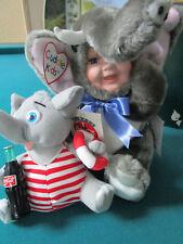GEPPEDDO AARON CUDDLE KID AND COCA COLA PLUSH ELEPHANT LOT 2 PCS