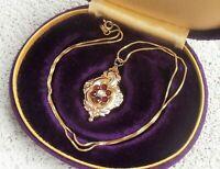 Vtg Victorian Repousse Bohemian Garnet Pearl Pendant on 14K G.F. Necklace Chain